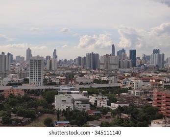 Bangkok, Thailand - June 12, 2015 : Aerial view of Bangkok, Thailand. Bangkok is the biggest city in Thailand, Economic center of Thailand.
