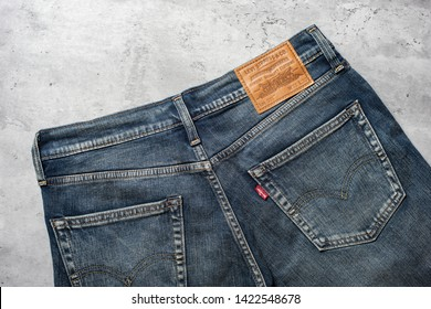 BANGKOK, THAILAND - JUNE 12, 2019: Close up of the details of Levi's Jeans. LEVI'S is a brand name of Levi Strauss and Co, founded in 1853.