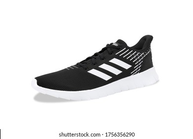 Bangkok , Thailand - June 12, 2020 : Adidas Asweerun Sneakers (core black color) running shoes, Isolated on white background with clipping path.