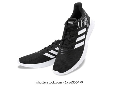 Bangkok , Thailand - June 12, 2020 : Adidas Asweerun Sneakers (core black color) running shoes, Isolated on white background.