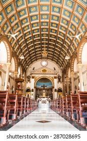 BANGKOK, THAILAND - JUNE 12: Hall of Santa Cruz Catholic Church on June 12, 2015 in Bangkok, Thailand.