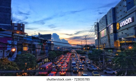 BANGKOK ,THAILAND - JUNE 1,2017 : The traffic jam on Ladprao Road in the Bangkok city Thailand