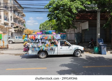 BANGKOK, THAILAND - JUNE 13, 2015: An unidentified Truck for miscellaneous sale. at jatujak bangkok, thailand.