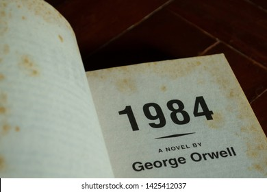"Bangkok, Thailand - June 13, 2019 : Inside front cover of ""1984"" novel by George Orwell."