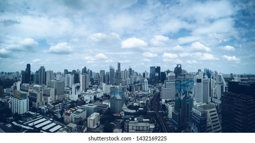 Bangkok, Thailand - June 13, 2019: Panorama view of the city on the rooftop of a building in Bangkok