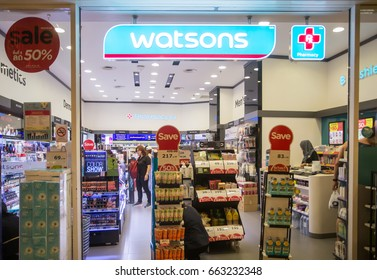BANGKOK, THAILAND - JUNE 14, 2017 : Exterior view of Watsons Pharmacy Store in Bangkok, Thailand.