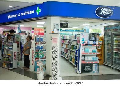 BANGKOK, THAILAND - JUNE 14, 2017 : Exterior view of Boots pharmacy store in Bangkok, Thailand.