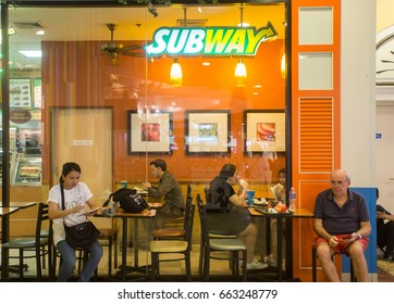 BANGKOK, THAILAND - JUNE 14, 2017 : Exterior view of Subway Restaurant in Bangkok, Thailand. It is one of the fastest growing franchises in the world, with 43,035 restaurants.