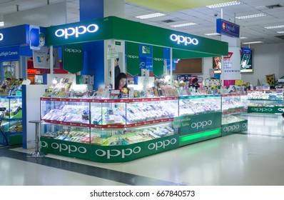 BANGKOK, THAILAND - JUNE 14, 2017 : Exterior view of Oppo mobile phone shop in Bangkok, Thailand
