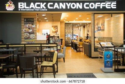 BANGKOK, THAILAND - JUNE 14, 2017 : Exterior view of Black Canyon Coffee Shop in Bangkok, Thailand. It's Thai coffee shop and was established in 1993.