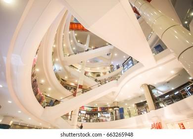 BANGKOK, THAILAND - JUNE 14 : Interior view of Terminal 21 Shopping Mall on June 14, 2017 in Bangkok, Thailand. It opened in October 2011.