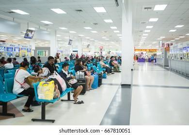 BANGKOK, THAILAND - JUNE 14 : Interior view of Bangkok Bus Terminal (Sai Tai Mai) on June 14, 2017 in Bangkok, Thailand. Bangkok Bus Terminal is the largest bus station in Thailand.