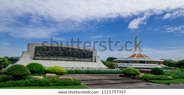 Bangkok, Thailand - June 14th 2018 : Suan Luang Rama ix the largest and most beautiful park in Bangkok Thailand which is popular and famous public park in the day with blue sky and white cloudy.