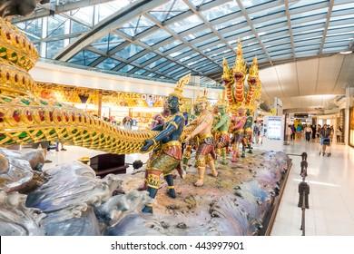 BANGKOK, THAILAND - JUNE 15, 2016: A depiction of the Samudra manthan is interior of termianal at Suvarnabhumi Airport. Suvarnabhumi Airport is one of two international airports serving Bangkok