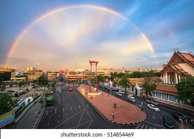 BANGKOK, THAILAND - June 15, 2016 : Rainbow with Sao Ching Cha (Giant Swing) and Wat Suthat