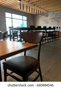 Bangkok, Thailand - June 15, 2017 :Starbucks coffee interior design. Starbucks Corporation is an American famous coffee company and coffeehouse chain.