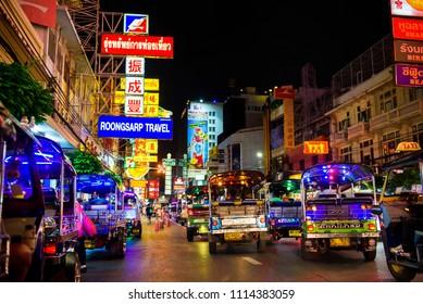 Bangkok, Thailand - June 15 2018 : Tok tok in Yaowarat (China town in thailand) at night.