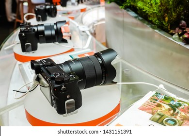 BANGKOK - THAILAND JUNE 15, 2019: Sony digital Series display and sale at Sony electronics store, in Siam paragon in bangkok, thailand