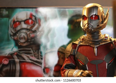 BANGKOK THAILAND - JUNE 16 ,2017 : Close up shot of Antman Civil War superheros figure in action, Antman appearing in American comic books by Marvel.