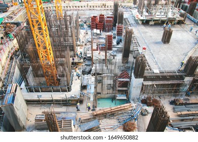 Bangkok Thailand - June 16, 2017 : The construction site of a large building with workers working there.