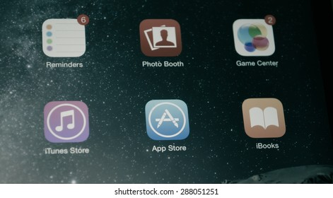 Bangkok, Thailand - June 17, 2015  : A close-up photo of Apple iPad mini 2 start screen focused on iTunes Store. iTunes Store is a digital distribution service for mobile apps developed by Apple Inc.