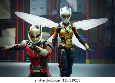 Bangkok, Thailand- June 17,2018: Ant-Man and Wasp, action figures from famous Marvel's comic