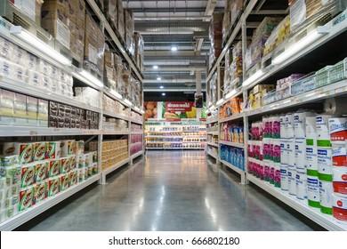 BANGKOK, THAILAND - JUNE 18, 2017: Various of paper napkin and toilet paper on shelf at Makro Hypermarket Kanlapaphruek. Siam Makro Public Company Limited was established in 1988.