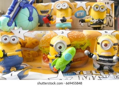 Bangkok, Thailand - June 18, 2017 : Figure model of Minions toy from McDonalds Happy Meal to promote the Minions toy action figure from Despicable Me 2 animated 3D film produced by Universal Pictures.