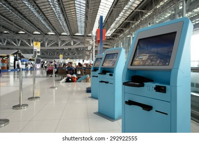 BANGKOK, THAILAND - JUNE 19, 2015: Suvarnabhumi Airport interior. Suvarnabhumi Airport is one of two international airports serving Bangkok