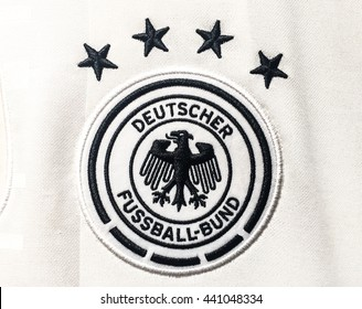 BANGKOK, THAILAND - June 19, 2016: The logo of Germany national football team on official jersey.