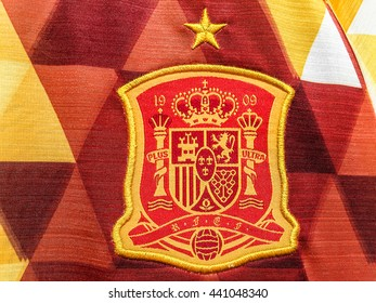 BANGKOK, THAILAND - June 19, 2016: The logo of Spain national football team on official jersey.