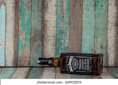 "BANGKOK, THAILAND- JUNE 2. 2017.Photo of bottle of ""Jack Daniel's"" Tennessee whiskey.Jack Daniel's is a brand of sour mash"