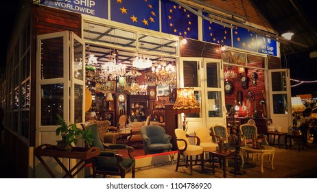 BANGKOK, THAILAND – June 2, 2018 : Classic cars night market. They have a lot of classic cars for show and take a photo for free. Also you can buy other antiques from near by shops.