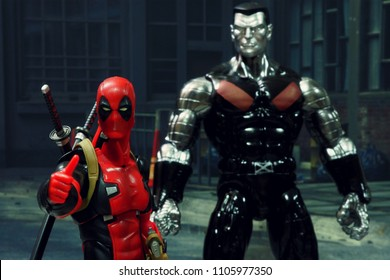 BANGKOK, THAILAND -JUNE 2, 2018: Deadpool and Colossus characters from famous Marvel comics launched by Max Factory toy manufacturer