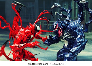 BANGKOK, THAILAND - June 2, 2018: Venom and Carnage characters from famous Marvel comics launched by Kaiyodo toy manufacturer