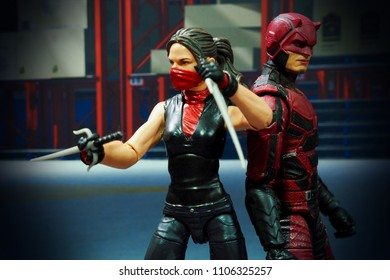 BANGKOK, THAILAND -JUNE 2, 2018: Electra and Daredevil characters from famous Marvel comics launched by Hasbro.