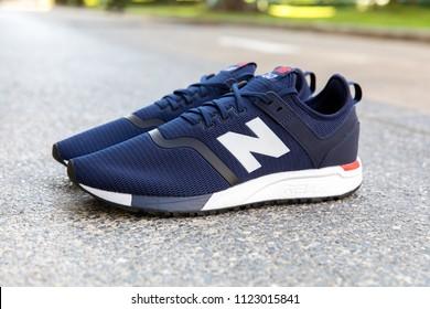 BANGKOK, THAILAND - JUNE 2, 2018:New balance shoes model MRL247DH blue color on concrete background