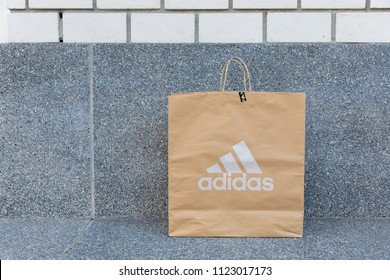 1a602cd57b BANGKOK, THAILAND - JUNE 2, 2018:Paper bag Adidas, Adidas AG headquartered