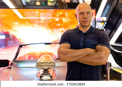 Bangkok, Thailand - June 2, 2020 : Dominic Toretto (Vin Diesel) waxwork model from The Fast and the Furious movies at Madame Tussauds Museum.
