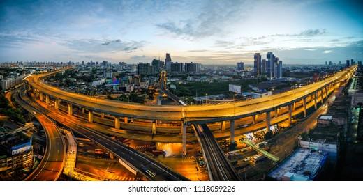 Bangkok, Thailand: June 20 2018: A BTS Skytrain crossing through the Bangna-Trat / Sukhumvit junction as it travels to downtown Bangkok, Thailand.