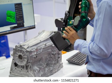 Bangkok, Thailand - June 20, 2018: CMM arm 3D laser scanner optical advanced inspection scan engine part in Manufacturing Expo 2018
