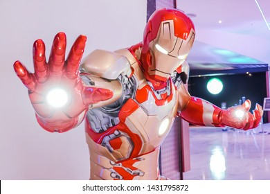 Bangkok, Thailand - June 20, 2019: Iron Man model show in Avengers Endgame exhibition booth at emquartier, Iron Man is a fictional superhero in American comic books published by Marvel Comics.