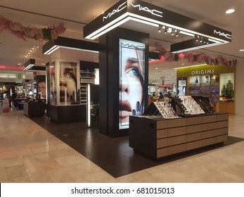 BANGKOK, THAILAND -June 2017: Exterior view of MAC Cosmetics Shop at The Mall. MAC Cosmetics was founded in Toronto, Ontario, Canada in 1984.and became part of the Estée Lauder Companies in 1998