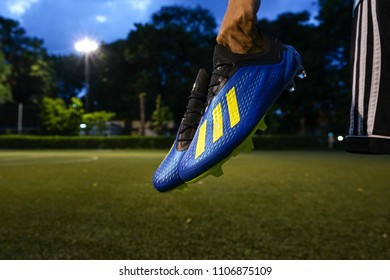 Bangkok / Thailand - June 2018: Adidas X 18, new football boots which is design for speed and agility player like Gareth Bale, Gabriel Jesus and Mohamed Salah. Adidas lanuch for world cup 2018.