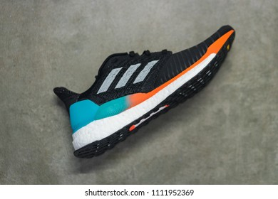 Bangkok / Thailand - June 2018 : Adidas SolarBoost , the latest high model of running shoe which engineered for cushioning, support and stability. Using of the famous material called Boost.