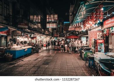 BANGKOK, THAILAND - JUNE 2018 : Chinatown at night on Yaowarat Road