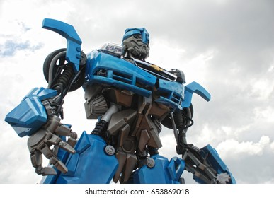Bangkok, Thailand - June 21, 2009: Giant Size Model of Blue Robot Transformers
