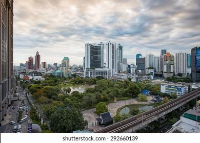 Bangkok, Thailand - June 21 2015- Benjasiri park at Phrom Phong District.