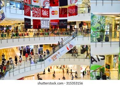 BANGKOK, THAILAND - JUNE 21, 2015: shopping center interior. Shopping centres such as Siam Paragon, Central World Plaza, Emperium, Gaysorn and Central Chidlom become shopping Mecca for shopaholics
