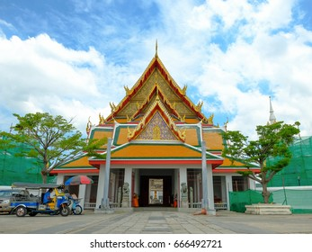 Bangkok, Thailand - June, 21, 2017 : Wat Kalayanamit Woramahawiharn are Royal buddha temple in Bangkok, Thailand. Famous Asian ancient architecture landmark and travel destination.